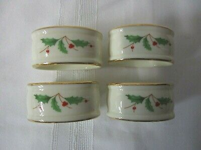 LENOX Ivory Porcelain HOLIDAY Christmas  Holly Oval Napkin Rings Set of 4 Rings