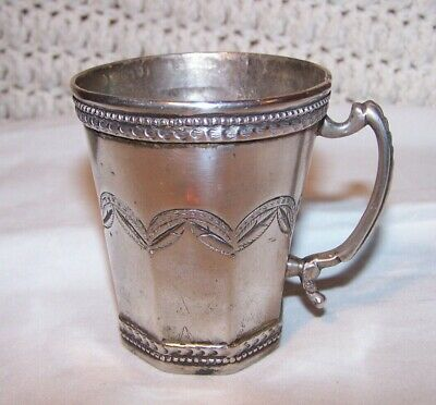Offer!!!    18Th -19Th -Old Spanish Colonial  Silver Cup Engraved - 2 Letters
