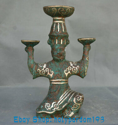 """10.2"""" Antique Old Chinese Bronze Silver Dynasty Palace Human Candle stick Statue"""