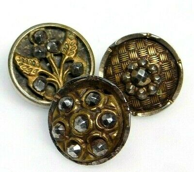 Antique Vtg Button Lot of 3 VICTORIAN Brass Charmstrings w Cut Steels NICE! #E25