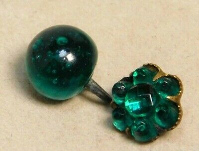 Antique Vtg Button Two Emerald Green Glass  & Gold Charmstrings NICE! #E25