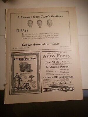 1927 print ads-Copple Brothers-California Hotel-Northwestern Pacific Auto Ferry