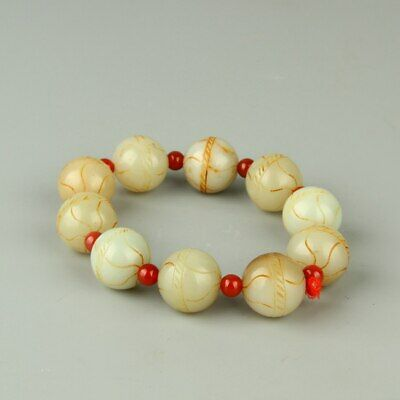 Chinese Exquisite Hand-carved Hetian jade Bracelet