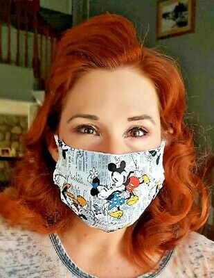 Face Mask disney mickey minnie mouse with filter pocket and nose grip