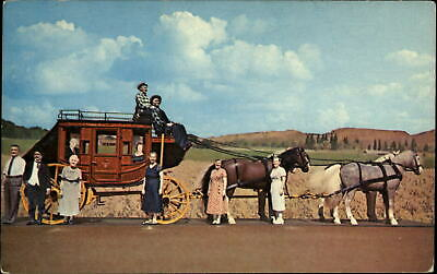 Stagecoach and horse team miniatures ~ western pioneers ~ 1950s postcard