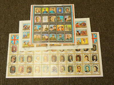 Qiwain Fujeira Stamp Sheets Kings of England Gaulle #5177
