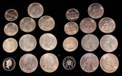 Lot of (11) UK Great Britain Penny and Half Penny - Choice Coins