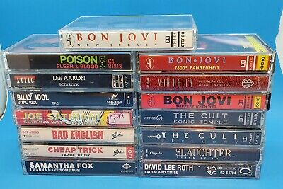 Lot of 15 Awesome (mostly) 80s Cassettes ROCK METAL Bon Jovi Van Halen The Cult