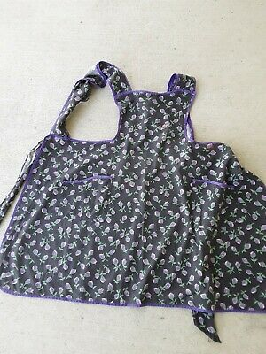 Vintage Purple Floral Print on Black Bib Apron