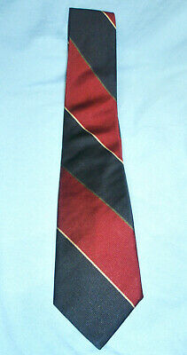 Vintage Classic BARRY KORMAN Navy Blue Maroon Striped Cravat Necktie Tie EUC