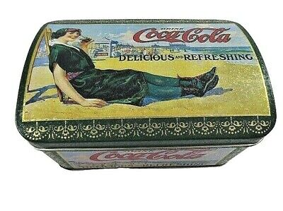 Empty Coca-Cola Tin Box Company Container Hinged Lid Vintage Lady On Beach