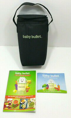 Baby Bullet Black Thermal Insulated Bottle Bag Zipper with Manual and Cookbook