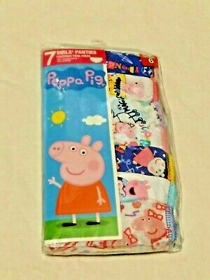 Nickelodeon Peppa Pig Girls 7-Pack 100% Cotton Brief Panties Size 6