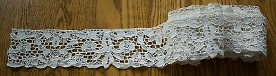 Antique Hand Made Needle Lace Early 20Th C 5Yds X 3 1/2""