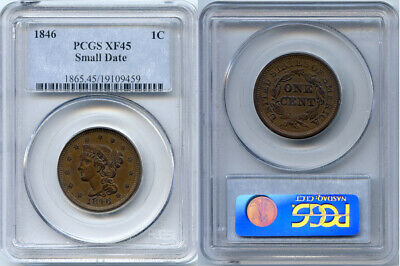 1846 PCGS XF45 Small Date Large Cent- Very Nice Copper Coin!
