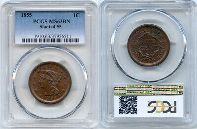 1855 PCGS MS63BN Large Cent- Slanted 55 - nice coin w/luster