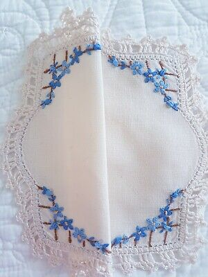 Sweet Pretty Vintage linen Hand Embroidered Blue Flowers Garden Doily