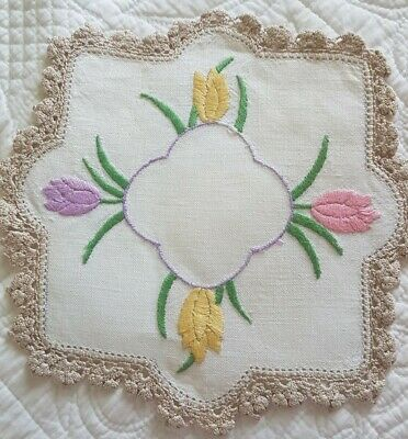 Vintage HAND EMBROIDERED Crocuses/Tulips DOILY