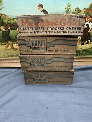 4 Vtg Wooden Wood Cheese Advertising Box Lot Boxes Kraft Meadow Gold Primitive
