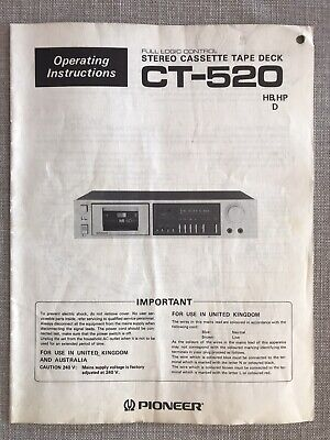 Pioneer Ct-520 Stereo Cassette Deck- Original Operating Instructions Manual.
