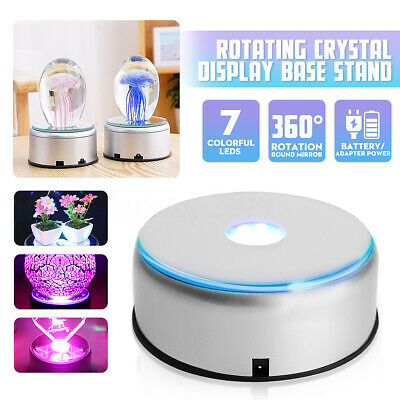 """4"""" Unique 360` Rotating 7 LED Colored Light Crystal Display Stand Base"""