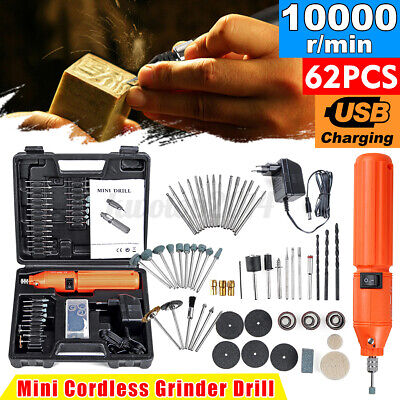 Rechargeable Mini Electric Rotary Drill Grinder With 60pcs Dril Bits Accessories
