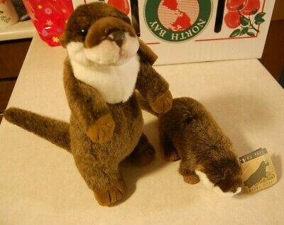 """Lot 2 Large Brown River Otter Stuffed/Plush Animal 11.5"""" & 14"""" Combined Shipping"""