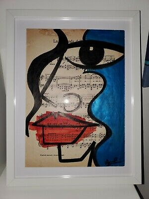 Original Anna Laurini A3 vintage music sheet ~ signed and framed