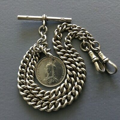 Antique Solid Silver Chunky Albert Pocket Watch Chain + Victorian 1887 Coin Fob