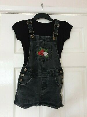 Girls Black Denin Short Dungarees And Tshirt Age 11 Years Matalan