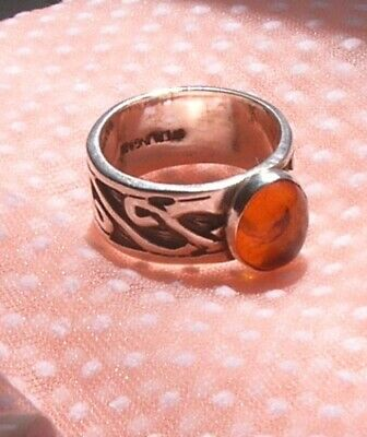 Vintage STERLING Silver AMBER Ring SIZE 6.25 - 6.50 ARTIST Created