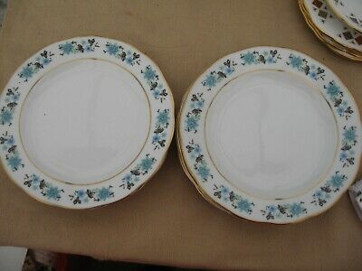 China 6 side plates blue floral with gold edging