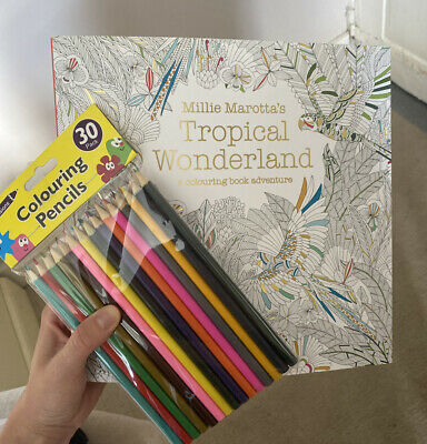 Millie Marotta's Adult Colouring Book - WITH PENCILS - Tropical Wonderland