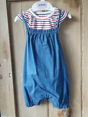 Pretty M&S Baby Girls 2 Piece Outfit Blue Pink White Brand New 3-6 Months