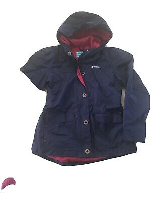 Girls  Navy N Pink MOUNTAIN WAREHOUSE WATERPROOF MAC/ Jacket, 11-12 Yrs, Vgc