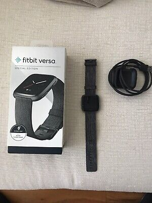 Fitbit Versa Special Edition Smart Watch, Charcoal Woven, One Size (S & L Bands)