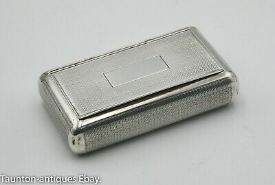 Nice French antique solid silver snuff box engine turned late 19th century