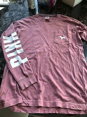 Victoria Secret Pink Size XS Women's Long Sleeve Chest Pocket Oversized T-Shirt