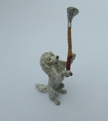 Vintage COLD PAINTED BRONZE Anthropomorphic POODLE PLAYING GOLF