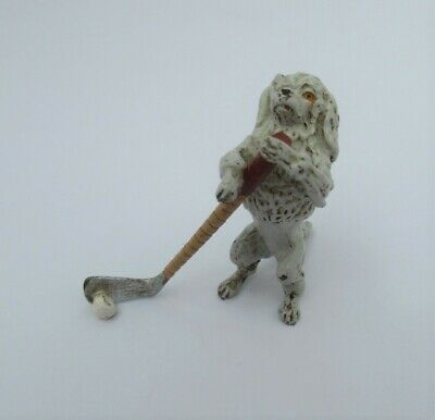 Vintage COLD PAINTED BRONZE Anthropomorphic POODLE PLAYING GOLF/HOCKEY