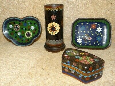 Antique 19th c. Japanese Meiji Period Cloisonne Brush Pot Trinket Box Pin Trays