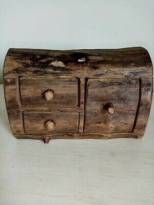 Vintage Wooden Log  Secret Drawer Box.