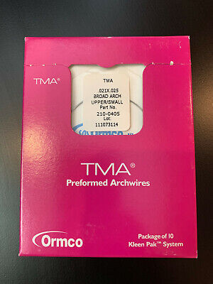 Ormco TMA 21x25 Orthodontic Archwire upper/small box of 10