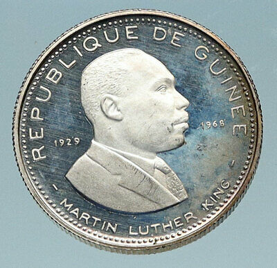 1969 GUINEA Martin Luther King MLK Activist Proof Silver 100 Francs Coin i84052