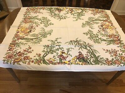 Vintage CHP Tablecloth French Toile California Hand Prints Novelty Romantic