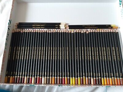 Spectrum noir colourblend pencils- approx 42 reds/yellows/oranges/browns/Neutral