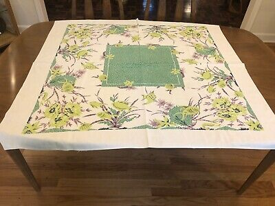 Vintage Tropical Fish Prtined Tablecloth Lilac Green 1950's Sea Shells Print