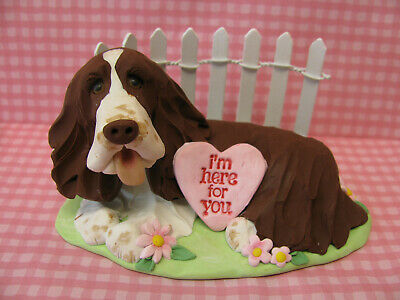"Handsculpted L/W English Springer Spaniel Dog ""I'm here for you"" Figurine"