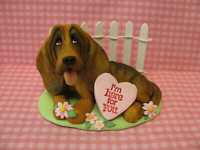 "Handsculpted Bloodhound Dog ""I'm here for you"" Figurine"
