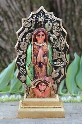 Guadalupe Figure Handmade Wood & Milagros Patzcuaro Michoacán Mexican Folk Art